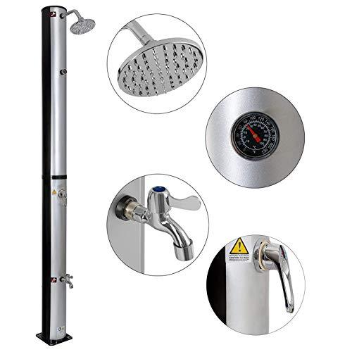 CRZJ Solardusche 37 L | 199 cm | Einstellbare Wassertemperatur bis zu 60 ° mit Fußdusche und schwenkbarem Thermometer