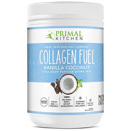 Primal Kitchen Collagen Fuel Protein Mix, Vanilla Coconut, Non-Dairy Coffee Creamer & Smoothie Booster- Supports Healthy Hair, Skin, and Nails, 20 Ounce