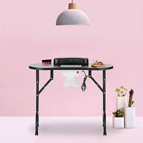 LEIBOU Professional Folding Portable Vented Beauty Manicure Table Nail Desk Salon Spa With Fan &Bag (35''x 16''x 28'') (black)