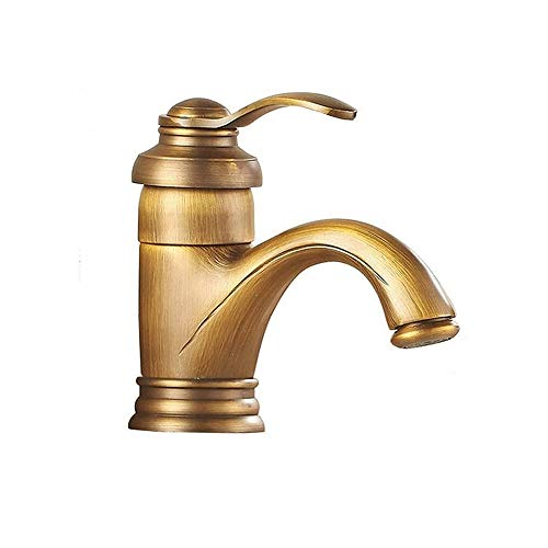 XVXFZEG Caliente y fría de mezcla de agua del grifo del lavabo, cobre sola manija del grifo, conveniente for el hogar Cuarto de baño del fregadero de cocina WC Lavabo hospital hotel dormitorio, bronce