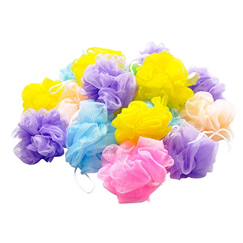 Bath Shower Sponge Loofahs 20 Pack50g/Pcs Bulk Assorted Colors Mini Mesh Pouf Bath Poof Shower Ball Mesh Bath and Shower Sponge