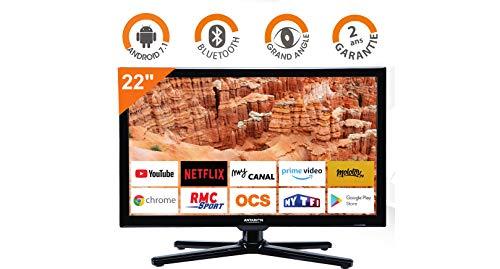 "Smart TV Camping Car Camion Fourgon Android Internet WiFi CONNECTE 12V 24V 22"" 55cm ATV22SMART ANTARION"
