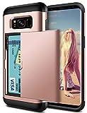 Coolden for Samsung S8 Plus Case Shockproof Case for Galaxy S8 Plus Wallet Case Protective Case Rubber Bumper Card Holder Slot Wallet Case Cover for Samsung Galaxy S8 Plus Phone Case (Rose Gold)