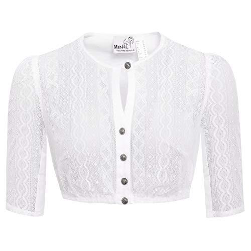 MarJo Trachten Damen Trachten-Mode Dirndlbluse Bela-Anita in Weiß traditionell, Größe:34, Farbe:Weiß