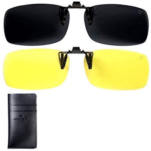 CREYESTAL Pack Clip Gafas de Sol Polarizadas y Clip para Visión Nocturna, Clip Gafas Conducción, Hombres, Mujeres, 100% anti-UV, Certificado CE
