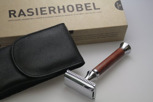 Timor Rasoir avec manche en bois de rose – Peigne fermé – avec étui en cuir, conçu et fabriqué en Allemagne