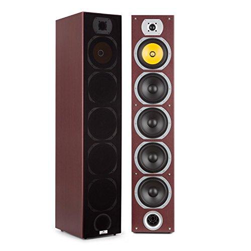 auna V7B - 4-Wege Standlautsprecher, Standboxen, Lautsprecher, Boxen, 3 x 6,5'' Tieftöner, 1 x 6,5'' Subwoofer, 1 x 6,5'' Mitteltöner, 1 x Tweeter, 440 W, abnehmbare Frontblende, Mahagoni