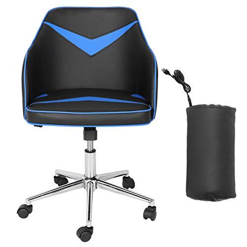 GOTOTOP - Silla de ordenador giratoria de 360 ° para casa y oficina con 5 ruedas flexibles, silla de ordenador ajustable en altura con almohada de masaje USB y silla de juego de piel sintética