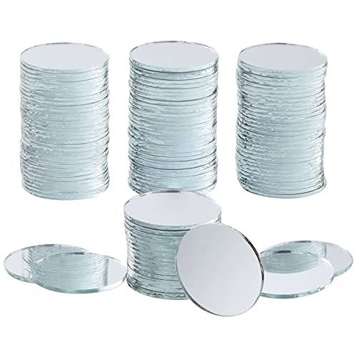 Round Glass Mirror Tiles for DIY Crafts and Home Decor (120 Pack)
