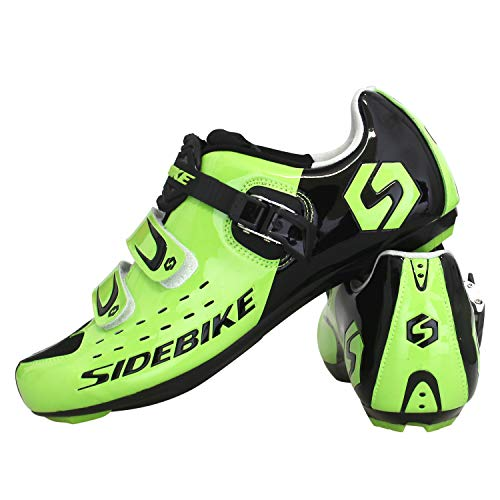 SIDEBIKE Scarpe da Ciclismo con Pedali e Tacchetto, Scarpe da Bici da Strada Regolabili, Antivibrazioni, Scarpe da Ciclismo con Rete di Nylon Traspirante (42, Verde)