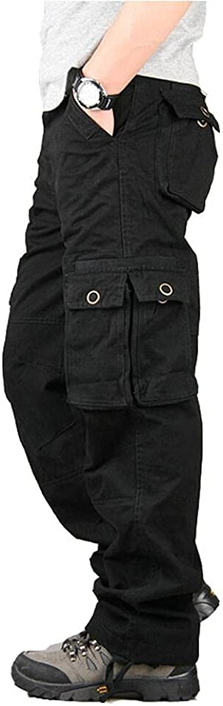 Naxxramas Mens Casual Outdoor Work Trousers, Cargo Pants with Multi-Pockets Trousers