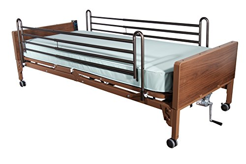 Drive Medical Full Electric Ultra Light Plus Hospital Bed, Brown, Full Rails and Innerspring Mattress, 36 Inch