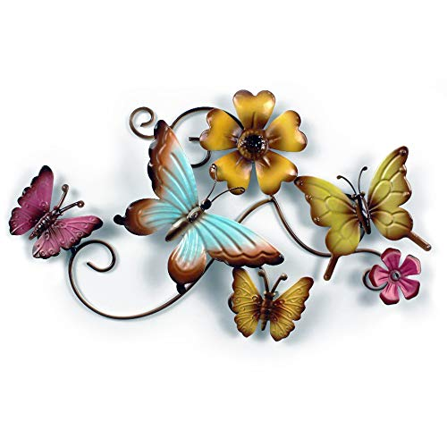 Metal Butterfly Wall Decor by CYSCOMMA – 9.6 x 14 Inches – Green, Blue, and Yellow Wall Art Butterflies – Decor Sculpture Hanging for Indoor and Outdoor Walls