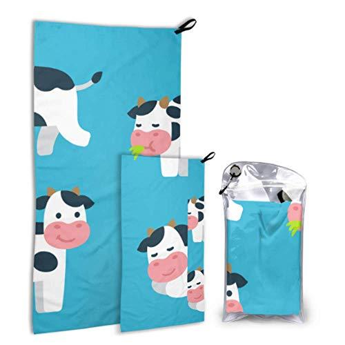 NA Blancanieves Happy Sleepy Milk Cow 2 Pack Microfibra Toalla de Playa Divertida Juego de Toallas Impresas Secado rápido Lo Mejor para Viajes de Gimnasio Mochilero Yoga Fitnes