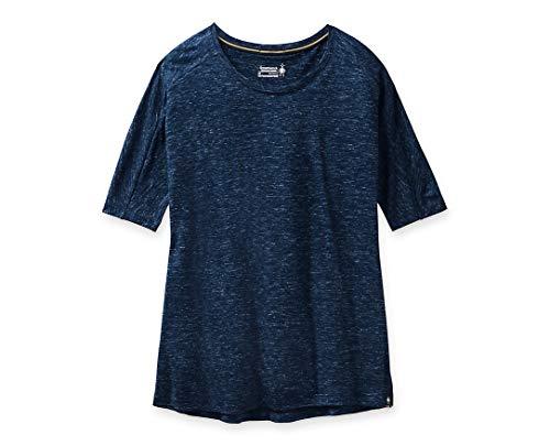 Smartwool Women's Everyday Exploration Short Sleeve Regular Fit Shirt Deep Navy Heather, Medium