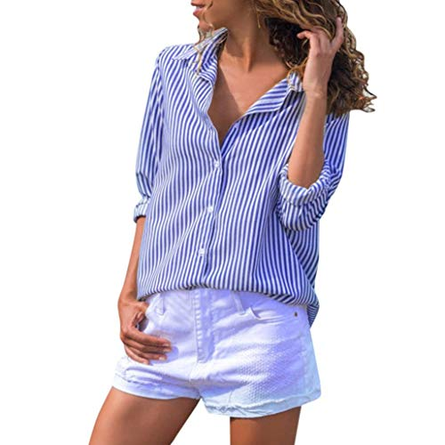 Heiß Herbst Kariert Hemd Damen Hevoiok Langarmshirt Klassisch Mode Lose Taste Gestreift Hemdbluse Oberteile Langarm Bluse T-Shirt Tops (Blau, M)