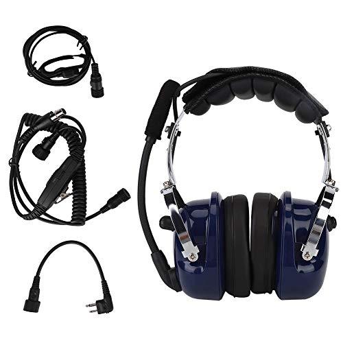 Oumij Aviación Pilot Headset Reducción de Ruido M Head PC Carcasa con 3 Botones Push-to-Talk Micrófono VOX para Motorola Walkie Talkie