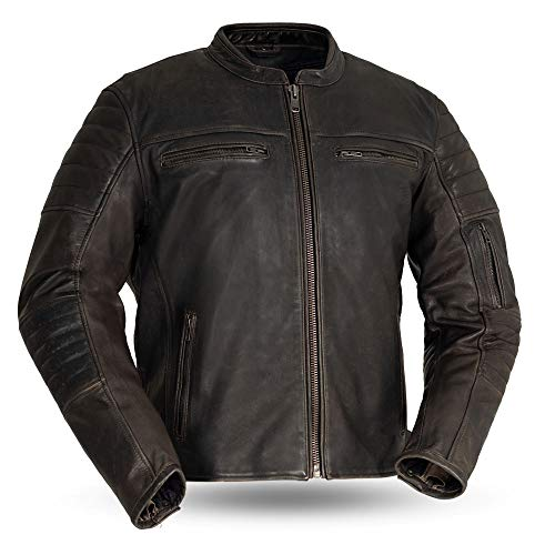 First MFG Co. - Commuter - Men's Motorcycle Leather Jacket (Brown, XX-Large)