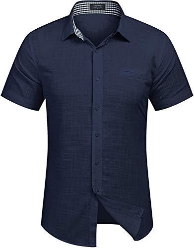 COOFANDY Men's Regular-Fit Short-Sleeve Solid Linen Cotton Shirt Casual Button Down Beach Shirt Navy Blue