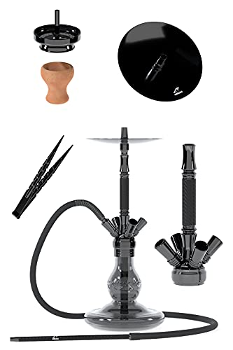 Smokezilla® IRYS Shisha de acero inoxidable, 66 cm, pipa de agua, juego completo con cabezal de chimenea, colador, pinzas para carbón, manguera de silicona con boquilla de aluminio, juego de 4 conexiones, color negro