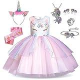 Rainbow Unicorn Outfit for Girls - Unicorn Costume, Jewelry, Headband, and Satin Sash