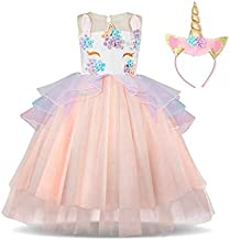 Baby Girl Unicorn Costume Pageant Flower Princess Party Dress Evening & Formal Flower Girl Dress For Girls Pageant Party Tutu Dresses with Headband