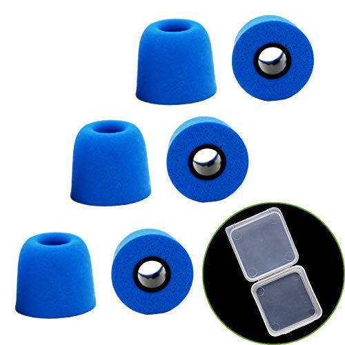 EKIND イヤホンパッド イヤーピース Mサイズ 交換用 遮音性 低反発ウレタン ウレタン製 イヤホンキャップ 記憶フォーム (6セット, 青)