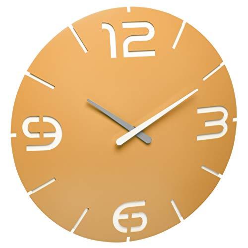 TFA Dostmann Contour Design-Funkuhr, 60.3536.07, Wanduhr mit Funk, mit Ziffern und Stundenmarkierung, gelb, Ø 350 x (H) 35 mm