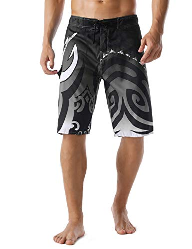 Unitop Men's Bathing Shorts Quick Dry Printed Swim Trunks with Lining Gray 32