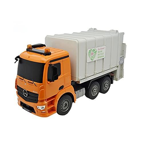 Vehículo de saneamiento de control remoto 2.4GHz Registro de juguetes de camión de reciclaje eléctrico de 2.4GHz con papel de basura Luces reales Gestión de residuos recargables Truco de basura Toys R