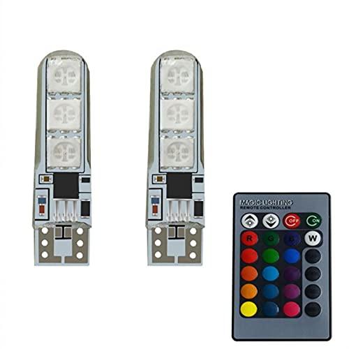 Luces led Lámpara ambiental de la luz del pie del coche LED 2x con el control remoto inalámbrico USB Color de la bombilla LED de la bombilla Lámparas de decoración del automóvil para la habitación