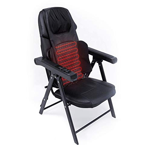 truMedic InstaShiatsu Folding Massage Chair with Heat Padded Seats Perfect for Stress, Muscle Pain Relief 8 Adjustable Deep Kneading Intensity Rollers, 3 Vibration Settings for Back Neck and Shoulder