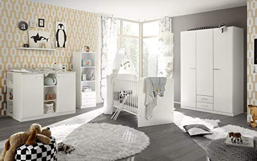 Babyzimmer Ella in Weiß 7 teiliges Megaset mit Schrank, Bett, Lattenrost und Umbauseiten, Wickelkommode und Regalen
