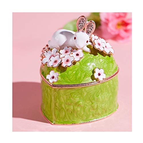 Caja de Música Caja de joyería lindo conejo de anillo / Pendiente, en forma de corazón caja de música creativa, decoración hogar, la caja del recuerdo de almacenamiento de la muchacha, rosa / verde, r