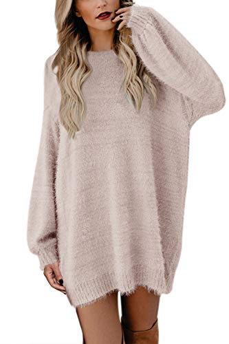 Meenew Women's Crewneck Loose Pullover Sweater Dress Baggy Sleeve Apricot M