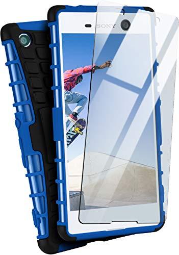 MoEx® Panzer-Schutz Set - Tank Case + Schutzglas passend für Sony Xperia M5 | Gehärtetes Glas + Extrem robuste Double-Layer Hülle, Blau Schwarz