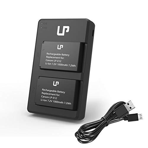 LP-E12 Battery Charger Pack, LP 2-Pack Battery & Dual Slot Charger, Compatible with Canon EOS M200, M100, M50, M50 Mark ii, M10, M2, M, Rebel SL1, 100D, PowerShot SX70 HS, Kiss M, Kiss X7 & More