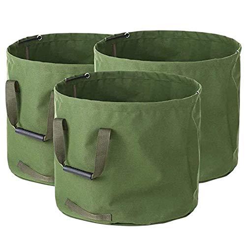 Gartenabfallsäcke, strapazierfähig, mit Griffen, faltbar, grüner Laubbeutel mit Militär-Leinenstoff, 45,7 x 55,9 cm 33 Gallon 3 Beutel