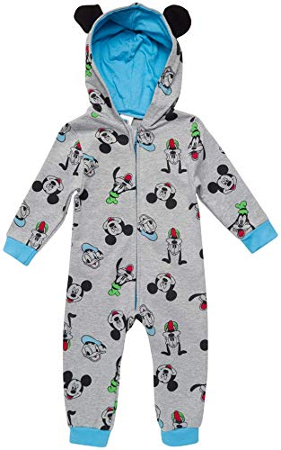 Disney Baby Boys' Pajamas - One Piece Plush Long Sleeve Hooded Sleep and Play Onesie Coveralls, Mickey Medium Grey, Size 24 Months