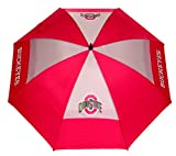 Team Golf NCAA Ohio State Buckeyes 62' Golf Umbrella with Protective Sheath, Double Canopy Wind Protection Design, Auto Open Button