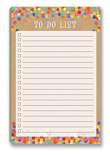 """Colorful Confetti To Do List Notepad with Magnet - 8.5"""" x 5.5"""" - Grocery, Shopping, Daily Tasks List (Colorful Confetti)"""