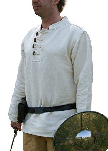 Battle-Merchant Chemise Style médiéval Lourde en Coton avec Boutons en Bois, tissée à la Main Naturel, Moyen-âge, GN, Viking