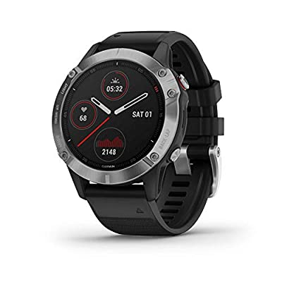 Garmin f?nix 6, Ultimate Multisport GPS Watch, Heat and Altitude Adjusted V02 Max, Pulse Ox Sensors and Training Load Focus, Silver with Black Band (Renewed)