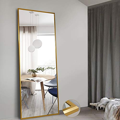 """NeuType Full Length Mirror Standing Hanging or Leaning Against Wall, Large Rectangle Bedroom Mirror Floor Mirror Dressing Mirror Wall-Mounted Mirror, Aluminum Alloy Wide Frame, Titanium Gold, 65""""x22"""""""