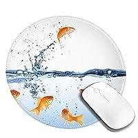 金魚 マウスパッド 丸型 20cm 滑り止め 防水 おしゃれ 洗える ビジネス用 家庭用 ゲーム用