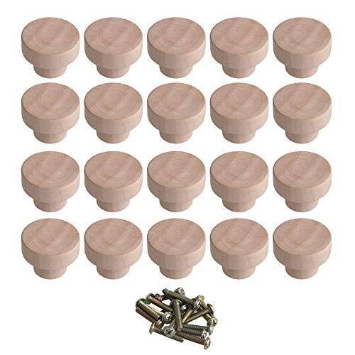BQLZR Home Accessory 35 x 25 mm Holzfarbe Superba Holz Hardware Runde Knäufe und Züge für Schrank, Schublade, Schuhkasten, Schranktür, 20 Stück