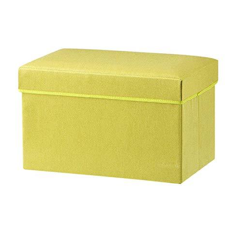 JXJ Otomana de Lino Plegable, Caja de Almacenamiento versátil reposapiés de Almacenamiento Taburete Asiento Caja de Juguetes Banco Adecuado para Sala de Estar Pasillo dormitorio-50x32x31cm (20x1