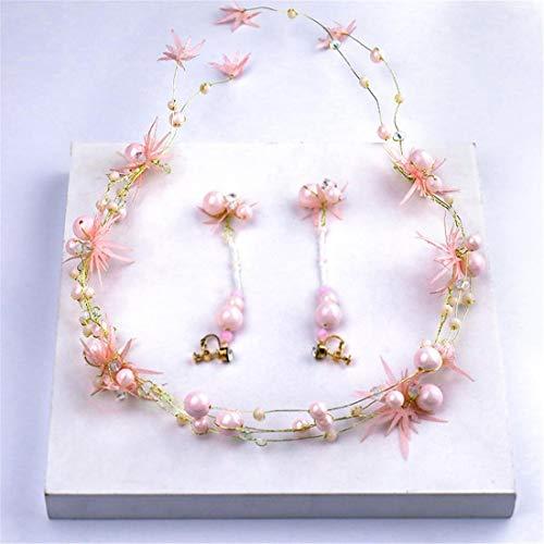 MIMIOOORE Brautkopfschmuck-Haar-Band-Rosa-Perlen-Blumen-Haar-Zusatz-Satz Brautkleid Zubehör (Color : Pink)