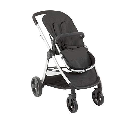 Carrito de Bebé Bonarelli Mod 300 2.0 Urban Grey | Silla Grupo 0+ (Nacimiento-13kg) | Silla y Capazo Reversibles | 4 Posiciones de Inclinación | Varios Tonos de Gris (Grey Dark/Chasis Aluminio)