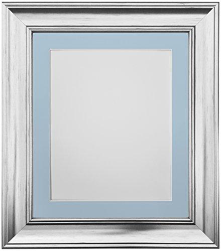 Frames By Post Scandi Vintage fotolijst Blauwe passe-partout 30 x 40 cm Image Size 12 x 10 Inches zilver